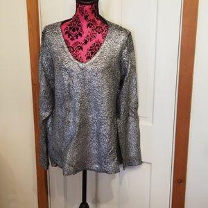 Reptile print metallic sweater